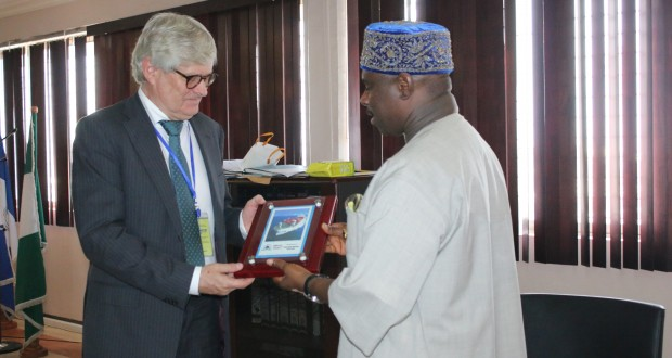 From L-R: Director General, Nigerian Maritime Administration and Safety Agency (NIMASA), Dr. Dakuku Peterside presenting a souvenir to the Norwegian Ambassador to Nigeria, Mr. Rolf Ree when he paid a courtesy visit to the Head Office of the Agency in Lagos.