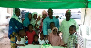 Parent of the celebrant Alhaja Latifat Adenekan standing on the extreme left and Alhaji Abdul-Fatai Adenekan standing on the extreme right with some wives, children and grandchildren of Adenekan's family at the residence of Sulaiman Adenekan, a Strategist/ Publisher of TRADE NEWSWIRE (www.tradenewswire.net) during his 4oth birthday on Monday.
