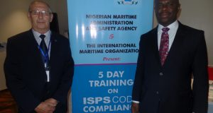 From L-R: The International Maritime Organisation (IMO) Lead Consultant, Mr. Brian Cranmer and the Director General, Nigerian Maritime Administration and Safety Agency (NIMASA), Dr. Dakuku Peterside during the opening ceremony of a five-day training organised by IMO in conjunction with NIMASA on ISPS Code Compliance on Monday in Lagos,Nigeria.