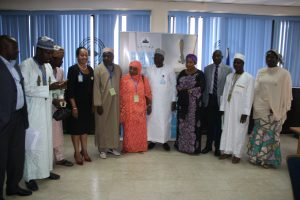 The Executive Director, Maritime Labour and Cabotage Services, Nigerian Maritime Administration and Safety Agency (NIMASA) Mr. Gambo Ahmed (5th from right) and some Management Staff of NIMASA in a photograph with the delegation from the Kano State Scholarship Board, led by the Executive Secretary, Professor Fatima Umar (6th from right) during a courtesy visit to the Agency recently.